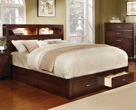 Gerico Platform Bed w/ Bookcase Headboard and Storage Footboard