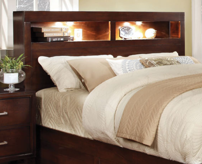 Gerico queen bed w bookcase headboard cm7291q dallas for Furniture of america dallas texas