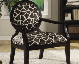 Giraffe Print Accent Chair with Exposed Wood Arms