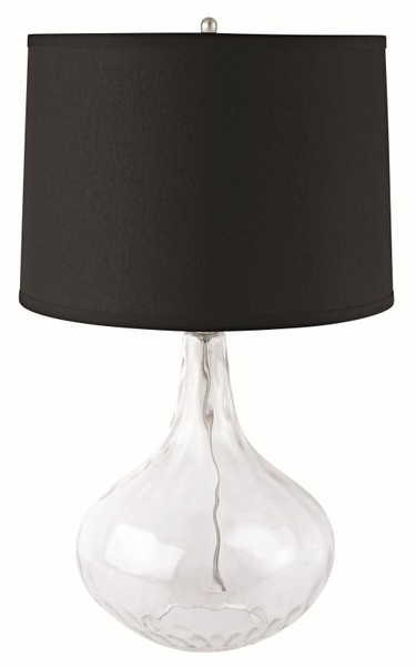 Glass Table Lamp with Black Shade