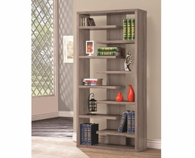 Gray Finish Interjecting Shelf Bookcase with Center Back Panel
