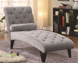 Grey Accent Velour Tufted Chaise