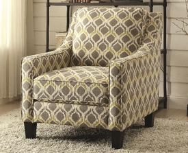 Grey and Yellow Linen Accent Chair