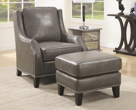 Grey Leather Accent Chair with Matching Ottoman