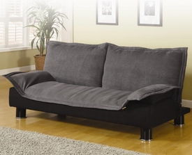 Grey Microfiber Convertible Sofa Bed
