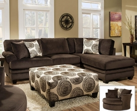 Groovy Padded Velvet Chocolate Sectional # 8642