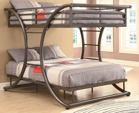 Gunmetal Finish Full-over-Full Bunk Bed