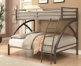 Gunmetal & Silver Finish Twin-over-Full Bunk Bed
