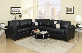 Heather Black Leather Sectional