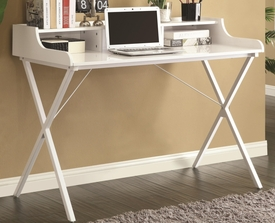 High Gloss White Desk with Glass Top & Raised Shelf
