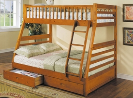 Honey Oak Finish Twin/Full Bunk Bed w/ Drawer