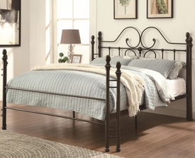 Iron Queen Bed with Scroll Design