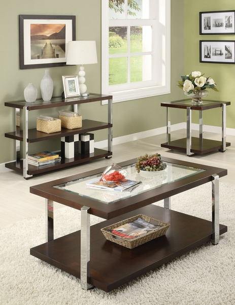 Jae Espresso Finish CoffeeEnd Table Set - Espresso finish coffee table set