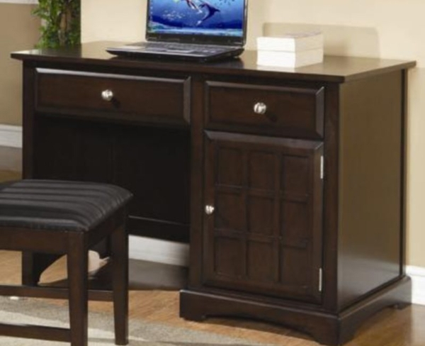 Rich Cappuccino Finish Single Pedestal Desk