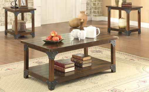 Tabacco Brown 3-pc Table Set
