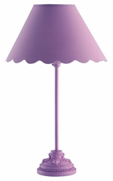 Lavender Table Lamp with Scalloped Shade