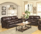 Burgundy Brown Leather Upholstered Loveseat