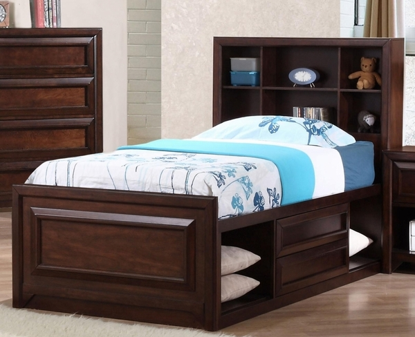 Maple Oak Finish Twin Captain's Storage Bed