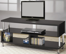 Media Console with Glass and Chrome Accents