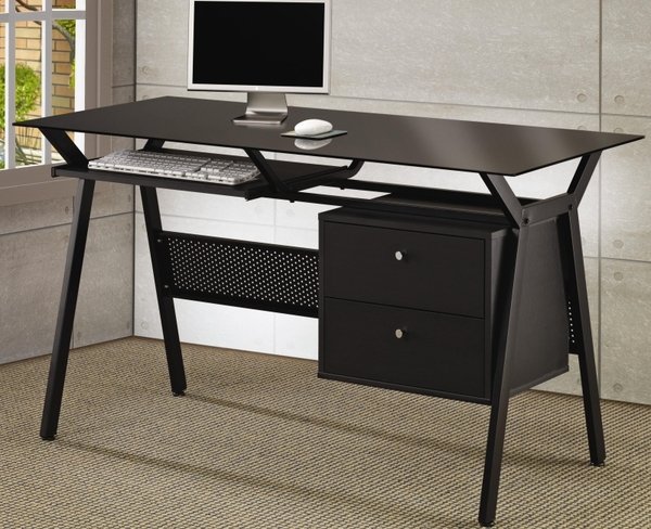 Metal and Glass Computer Desk with Two Storage Drawers