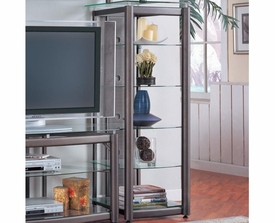 Metal Media Tower with 5 Glass Shelves