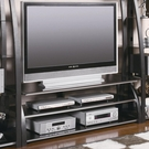 "Metal & Tempered Glass 60"" TV Stand with Shelves"