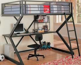 Metal Workstation Full Loft Bed