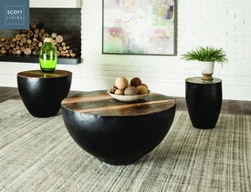 Black Iron Drum Coffee Table Set