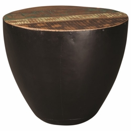 Black Iron Drum End Table