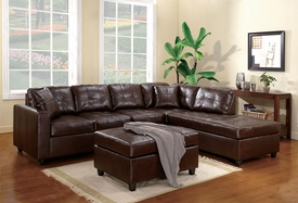 Milano Brown Bonded Leather Match Sectional Set