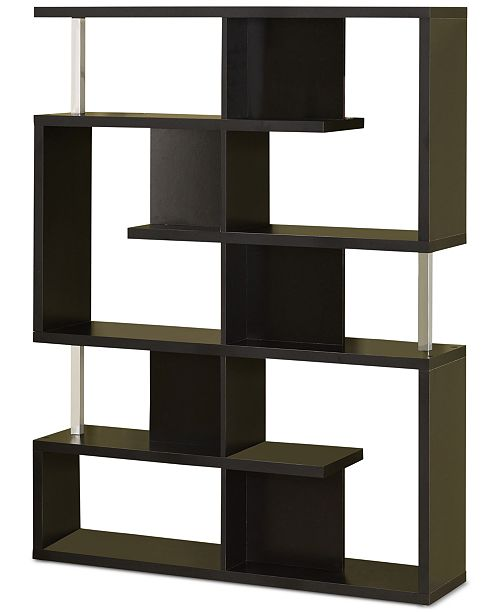 Black Finish Large Small Compartments Bookcase By Coaster