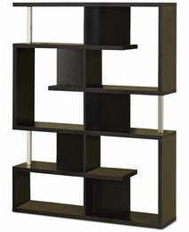 Black Finish Large & Small Compartments Bookcase