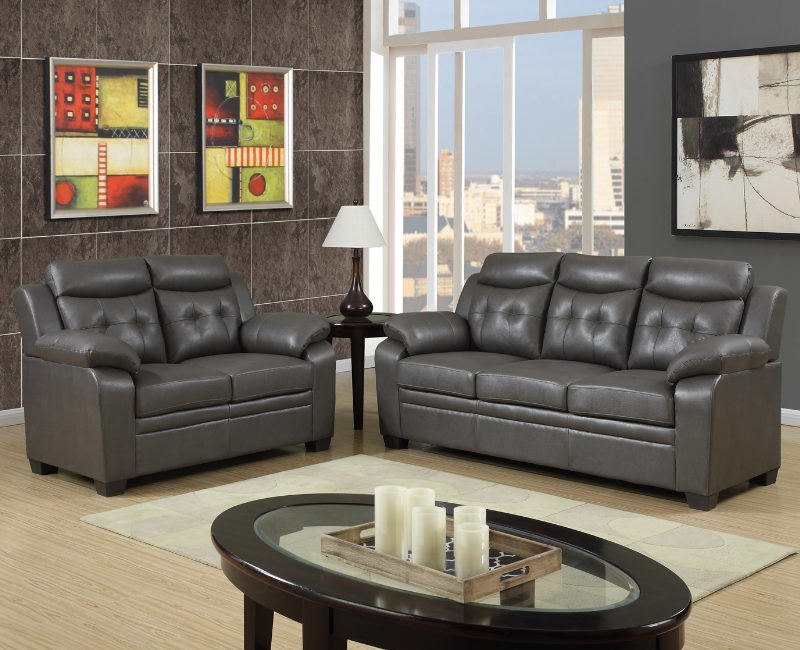 Gray leather 2 pc sofa set p 8800set furniture 4 less dallas for Furniture 4 less dallas tx