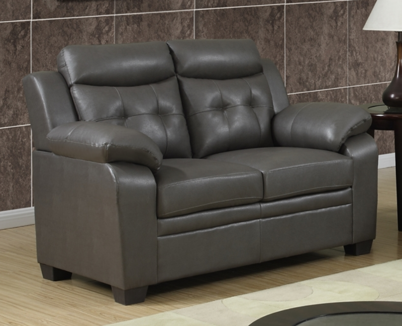 Gray leather sofa and loveseat poundex f7774 grey for Furniture 4 less outlet