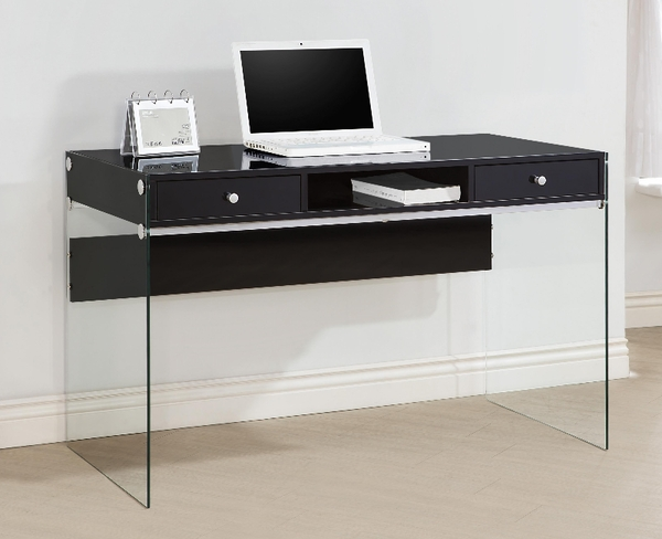 Modern Writing Desk with Tempered Glass Side Panels