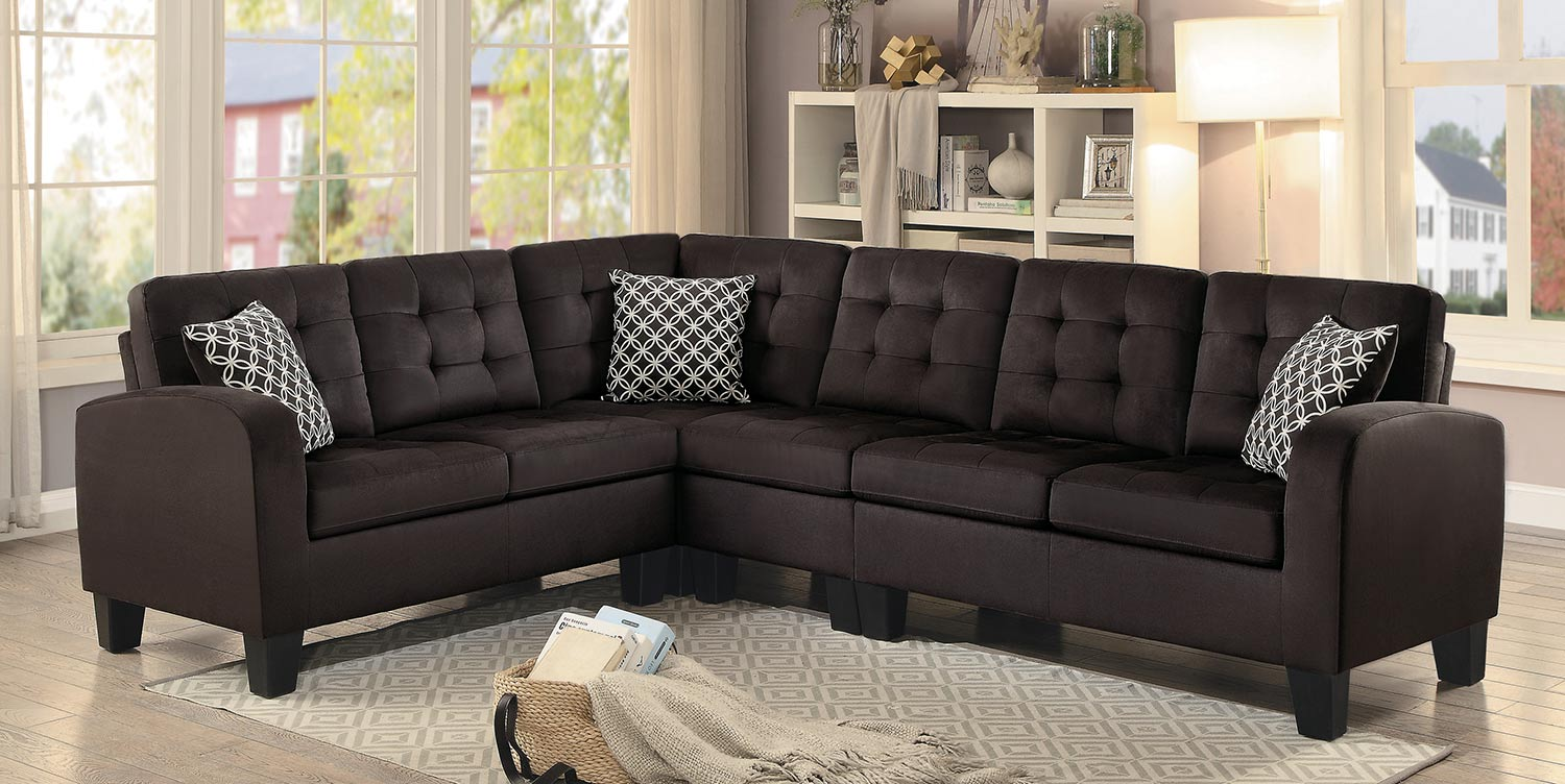 Sinclair Chocolate Sectional|Furniture 4 Less|Dallas