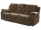 Brown Padded Velvet Upholstered Motion Sofa w/ Pillow Arms
