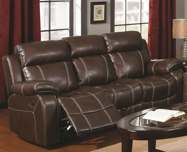 Brown Bonded Leather Upholstered Motion Sofa w/ Pillow Arms