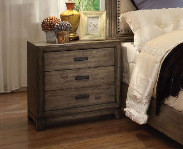 Natural Ash Finish 3 Drawers Nightstand