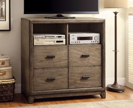Natural Ash Finish Media Chest w/ 4 Drawers
