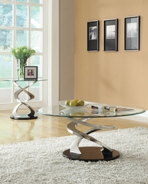 Nia Chrome Finish Glass Top Coffee/End Table Set