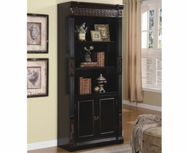 Slim Bookcase with Carvings and Enclosed Storage Cabinet