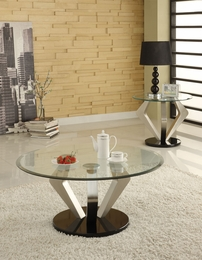 Niki Chrome Finish Glass Top Coffee/End Table Set