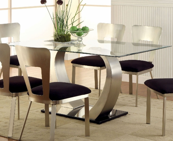 Nova rectangular glass dining table by furniture of for Furniture of america dallas texas