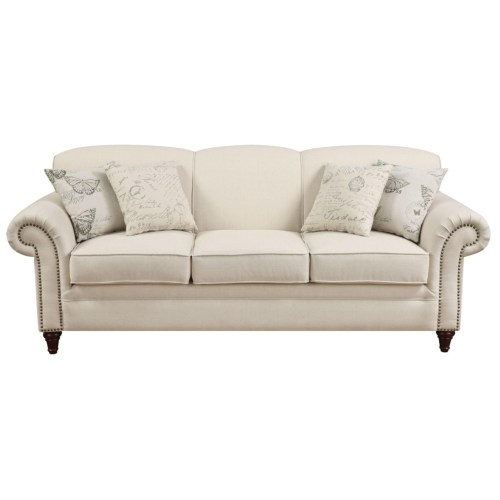 Oatmeal Cream Colored Sofa With Nail Head Trim By Coaster