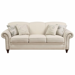 Oatmeal Cream Colored Sofa with Nail Head Trim