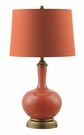 Orange Table Lamp with Antique Bronze Base