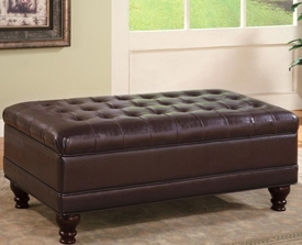 Oversized Faux Leather Storage Ottoman