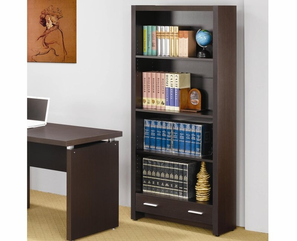 Cappuccino Finish 4 Shelf Bookcase with Storage Drawer