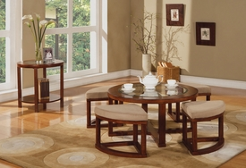 Pattia Oak Finish 7-Pc Coffee Table Set